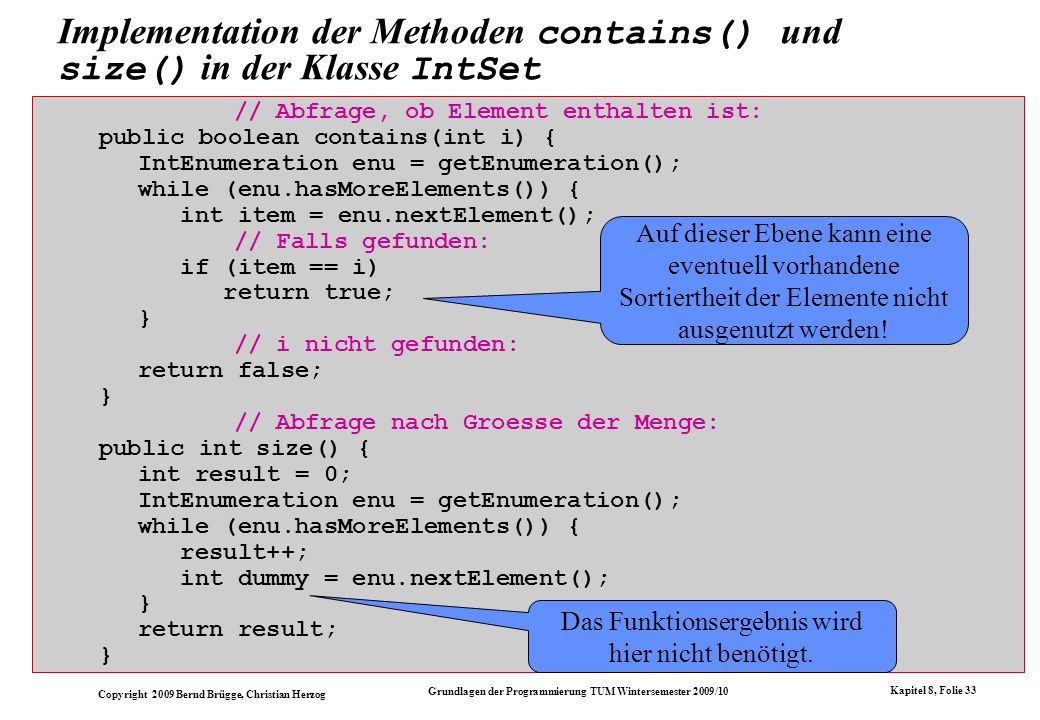 Implementation der Methoden contains() und size() in der Klasse IntSet
