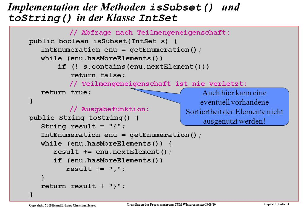 Implementation der Methoden isSubset() und toString() in der Klasse IntSet