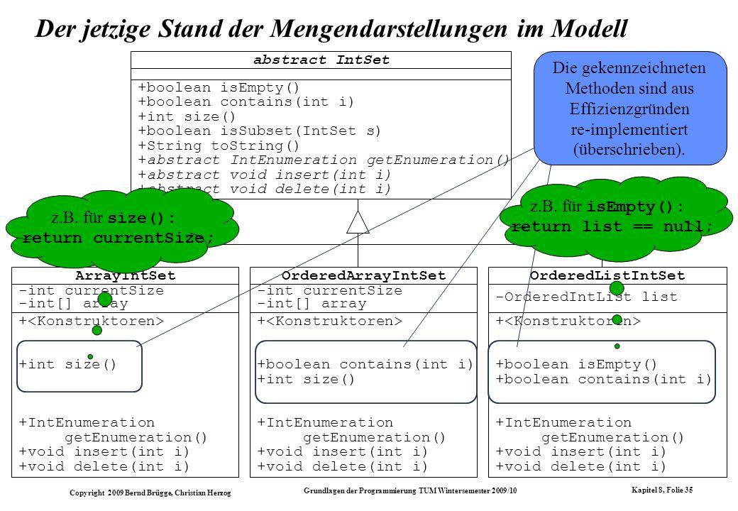 Der jetzige Stand der Mengendarstellungen im Modell