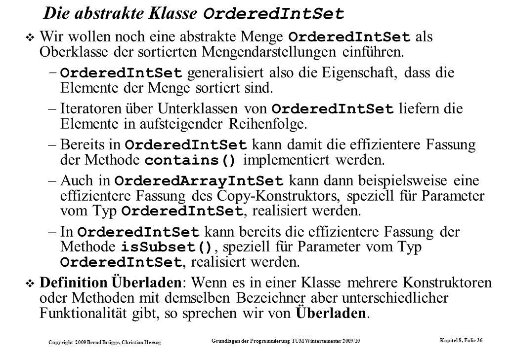 Die abstrakte Klasse OrderedIntSet
