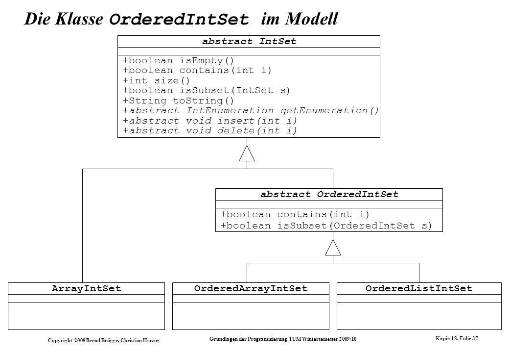 Die Klasse OrderedIntSet im Modell