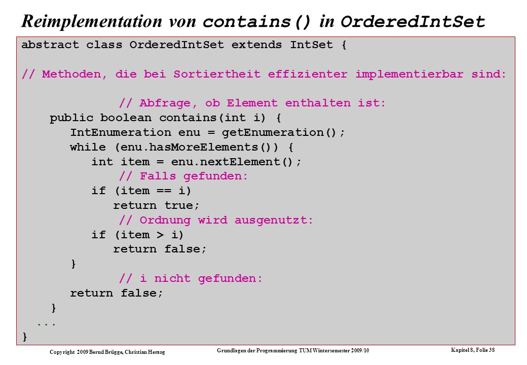 Reimplementation von contains() in OrderedIntSet