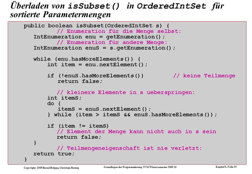 Überladen von isSubset() in OrderedIntSet für sortierte Parametermengen