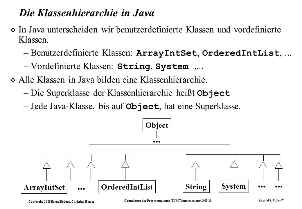 Die Klassenhierarchie in Java