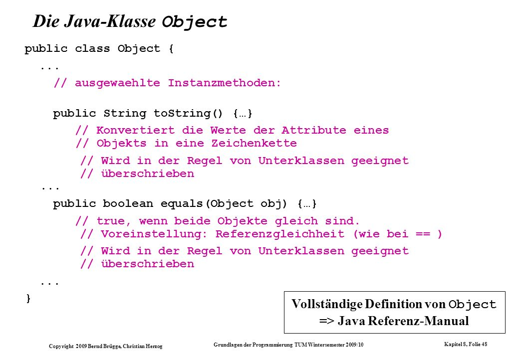 Die Java-Klasse Object
