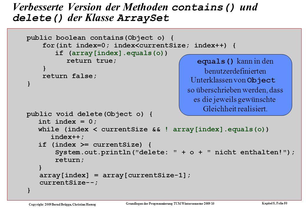 Verbesserte Version der Methoden contains() und delete() der Klasse ArraySet