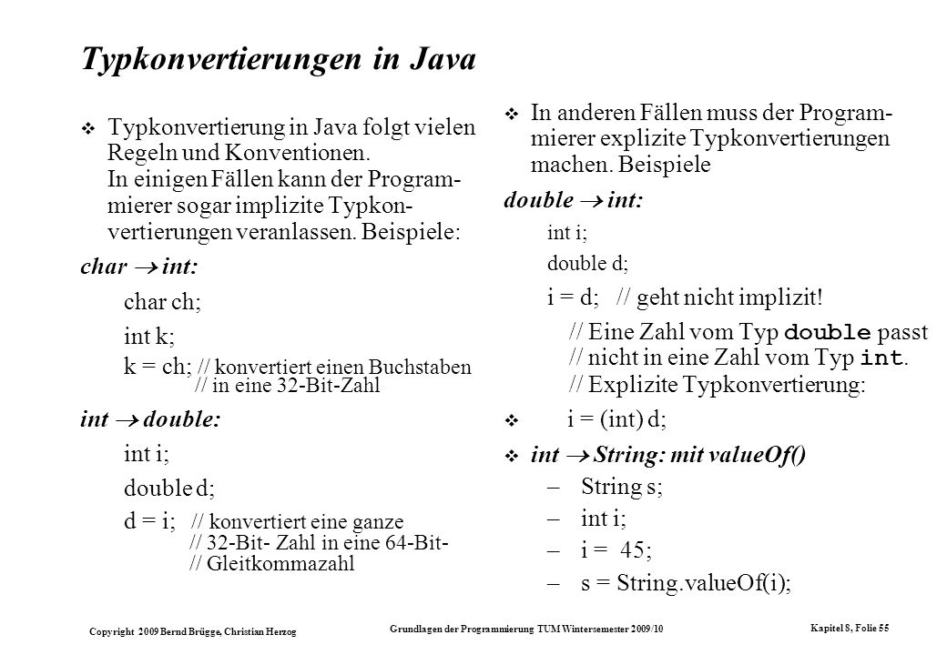 Typkonvertierungen in Java