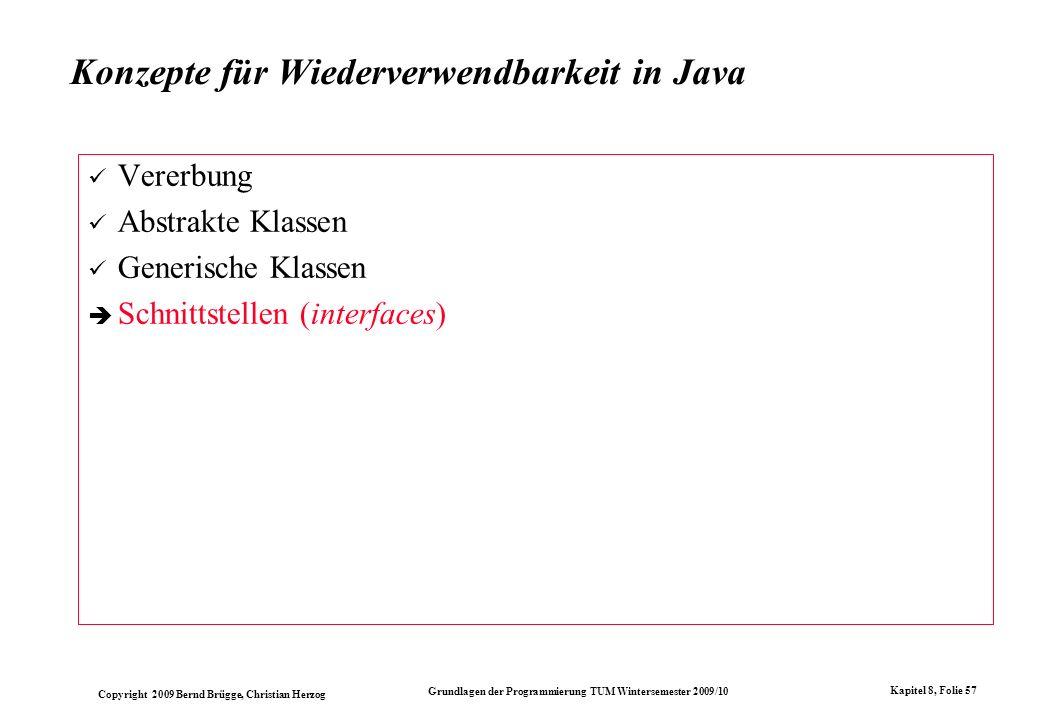 Konzepte für Wiederverwendbarkeit in Java