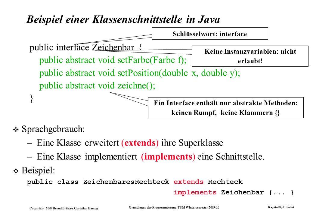 Beispiel einer Klassenschnittstelle in Java