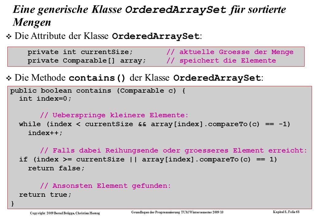 Eine generische Klasse OrderedArraySet für sortierte Mengen