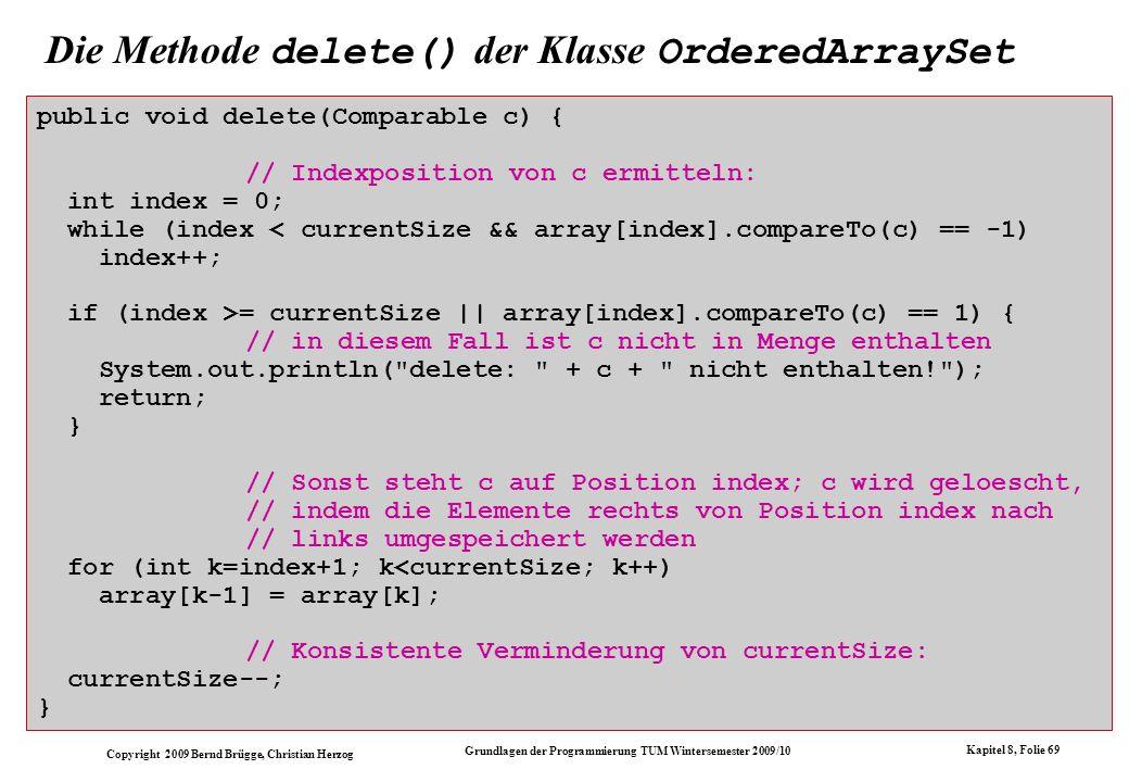 Die Methode delete() der Klasse OrderedArraySet