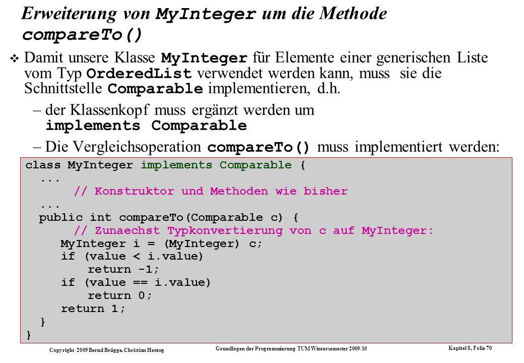 Erweiterung von MyInteger um die Methode compareTo()