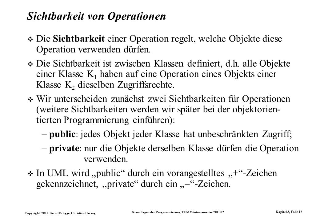 Sichtbarkeit von Operationen