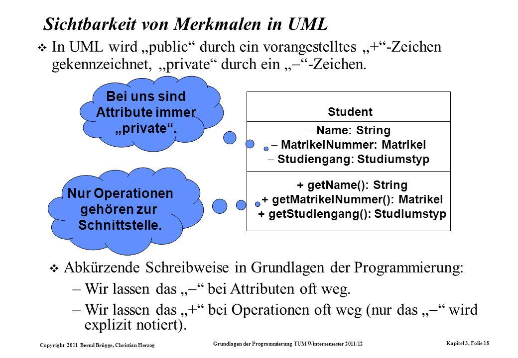 Sichtbarkeit von Merkmalen in UML