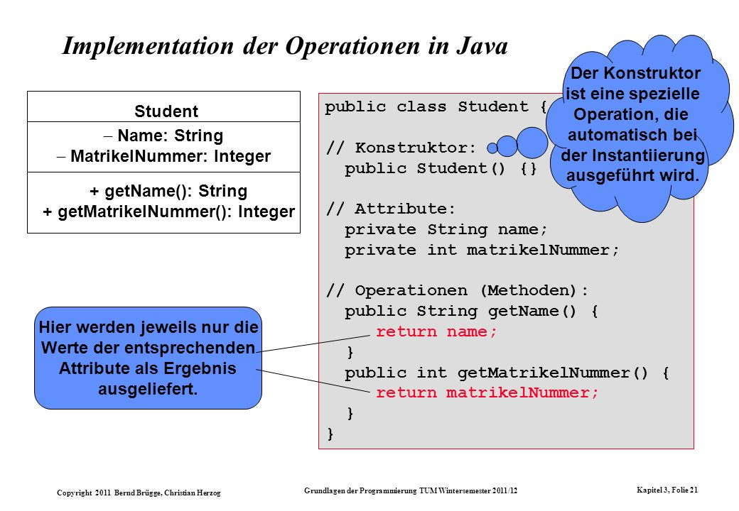 Implementation der Operationen in Java