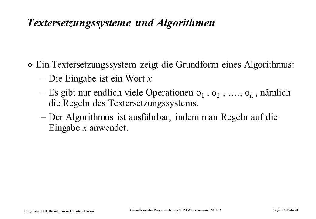 Textersetzungssysteme und Algorithmen