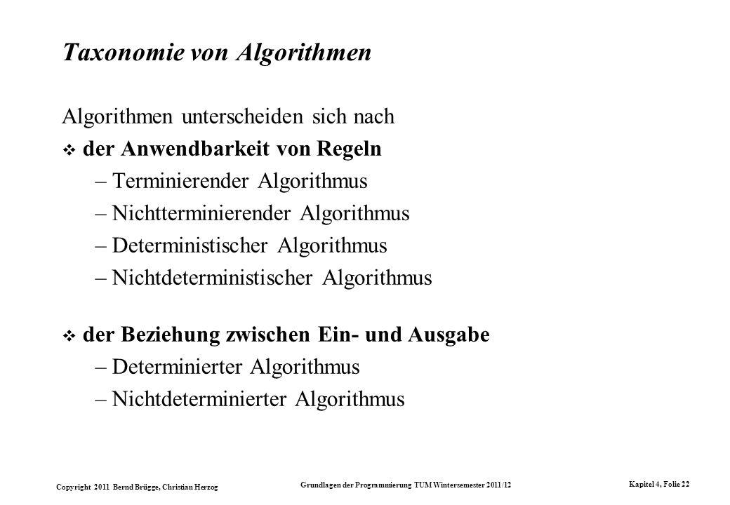 Taxonomie von Algorithmen