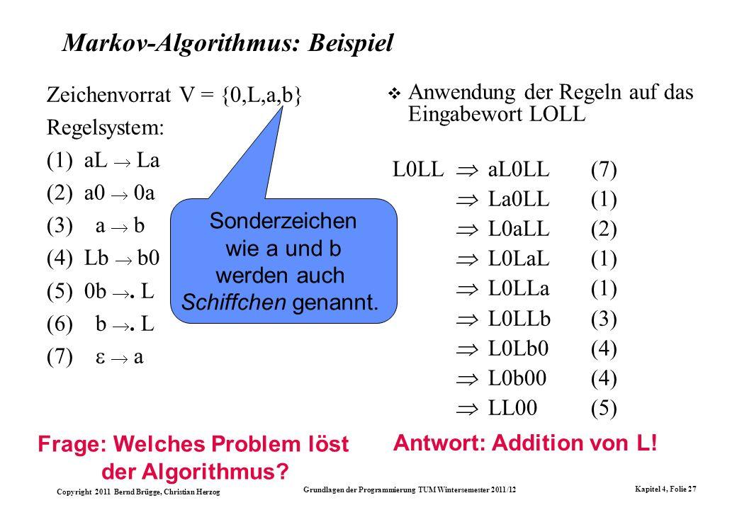 Markov-Algorithmus: Beispiel
