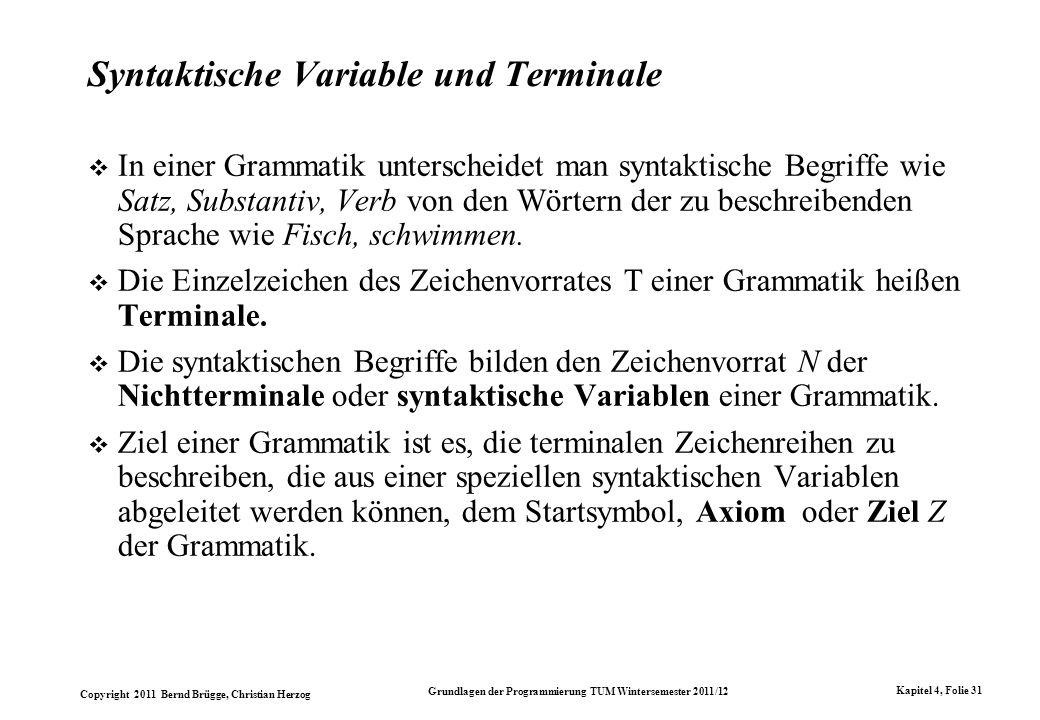 Syntaktische Variable und Terminale