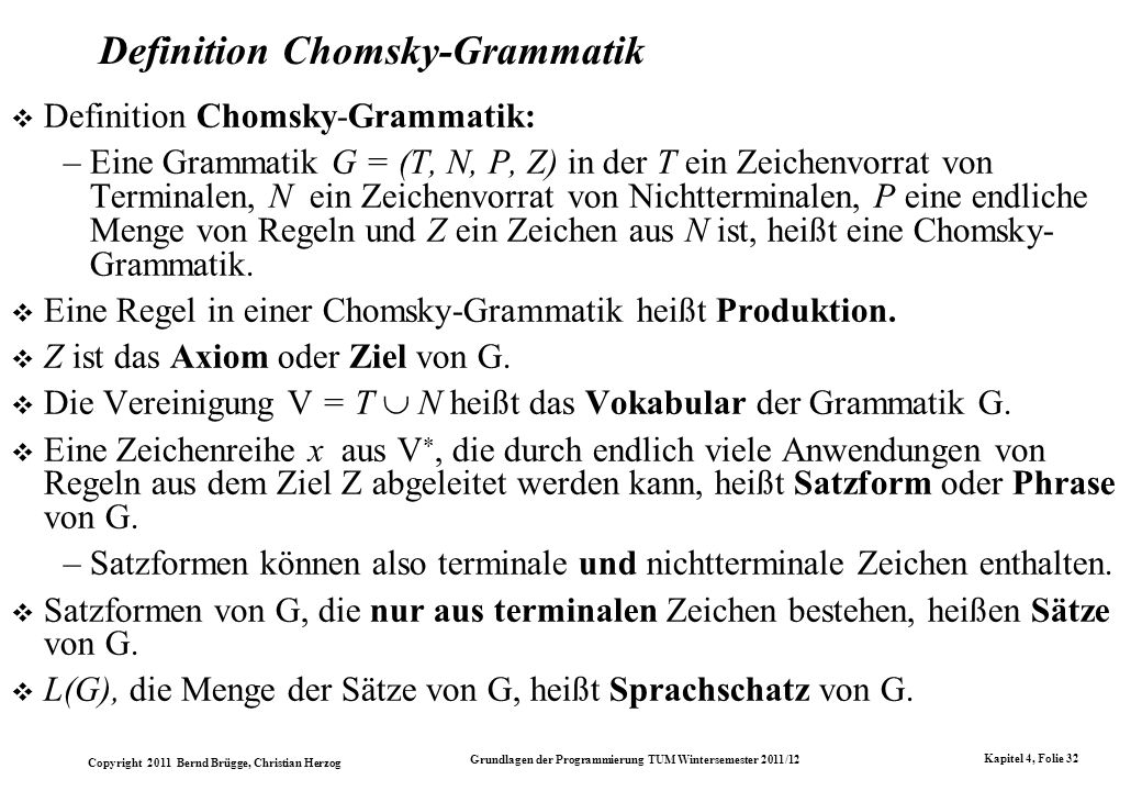 Definition Chomsky-Grammatik