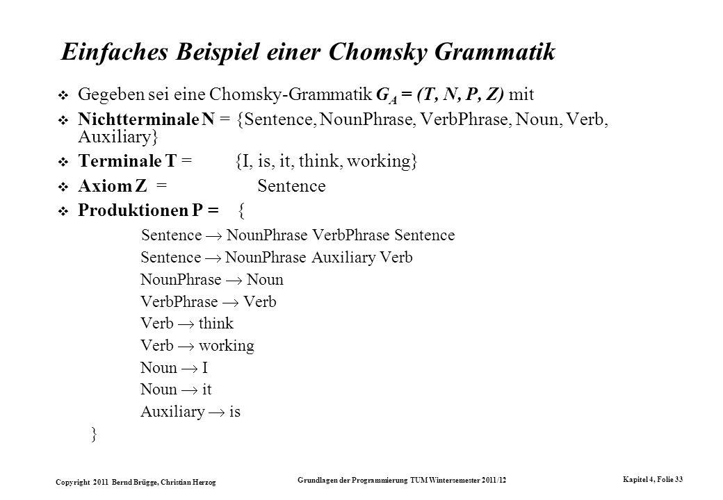 Einfaches Beispiel einer Chomsky Grammatik