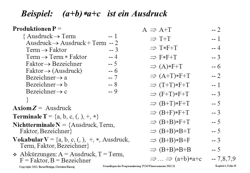 Beispiel: (a+b)a+c ist ein Ausdruck