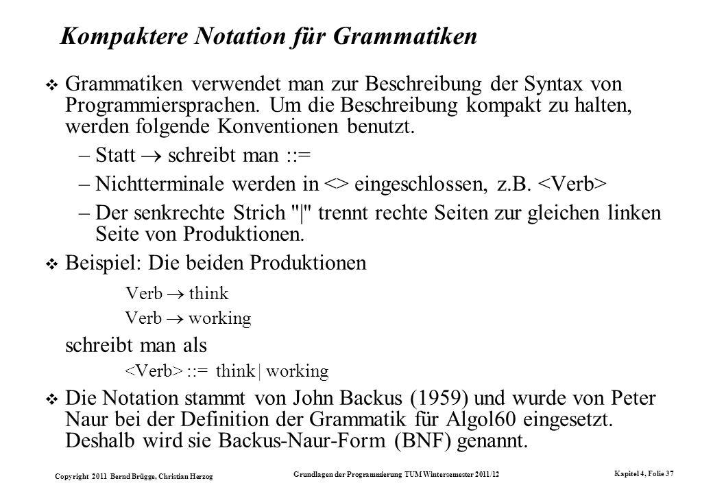 Kompaktere Notation für Grammatiken