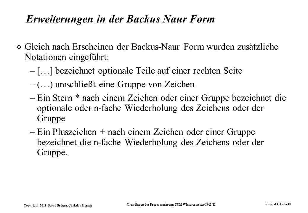 Erweiterungen in der Backus Naur Form