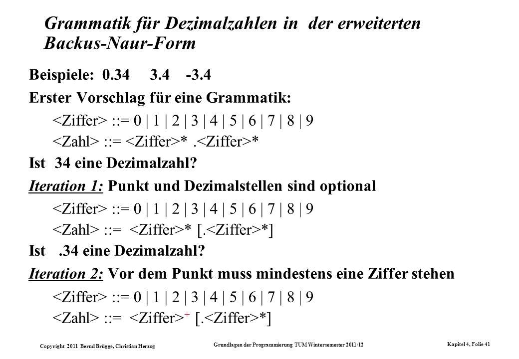 Grammatik für Dezimalzahlen in der erweiterten Backus-Naur-Form