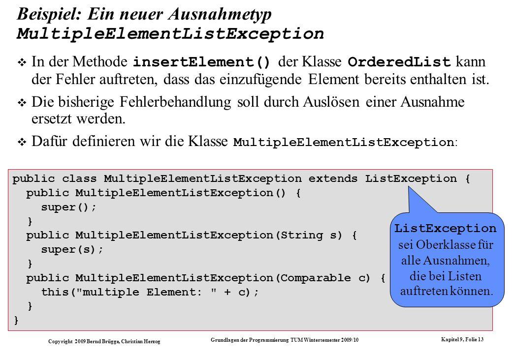 Beispiel: Ein neuer Ausnahmetyp MultipleElementListException