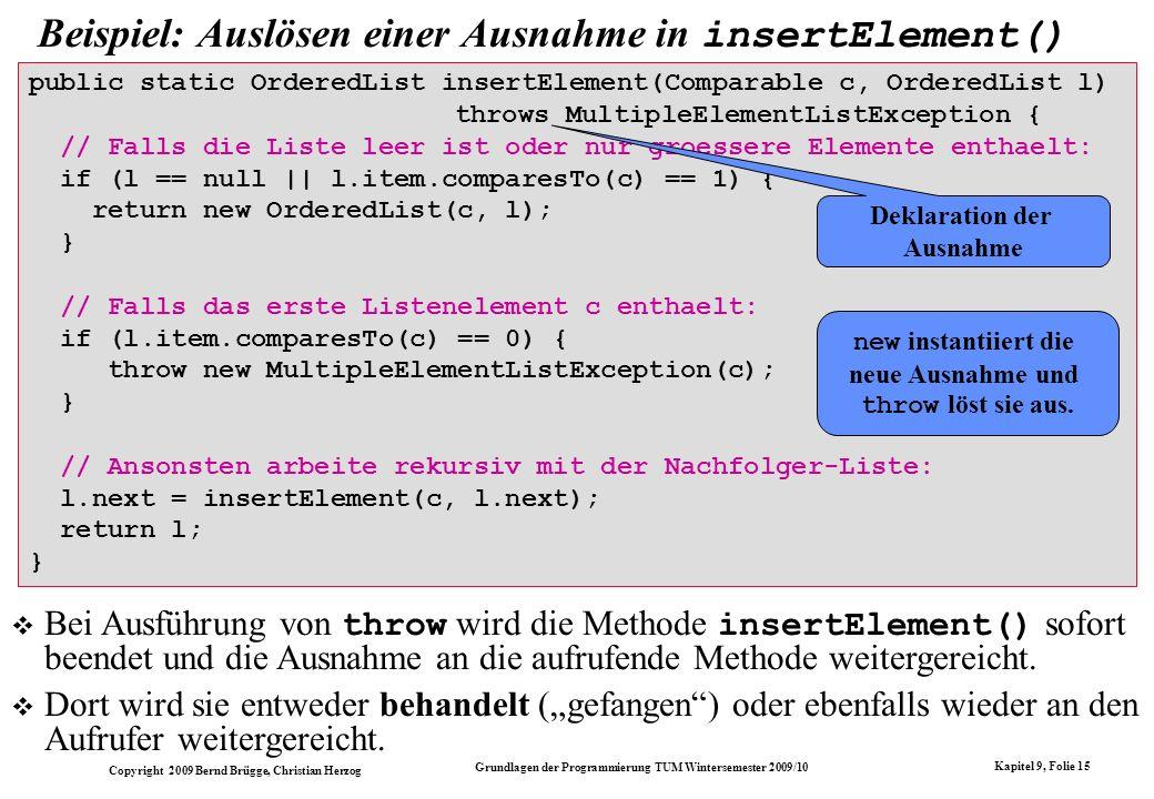 Beispiel: Auslösen einer Ausnahme in insertElement()