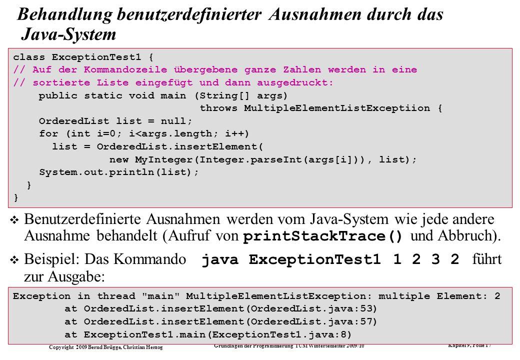 Behandlung benutzerdefinierter Ausnahmen durch das Java-System