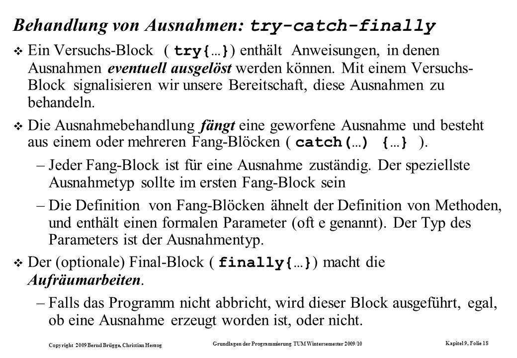 Behandlung von Ausnahmen: try-catch-finally
