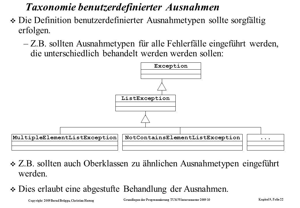 Taxonomie benutzerdefinierter Ausnahmen
