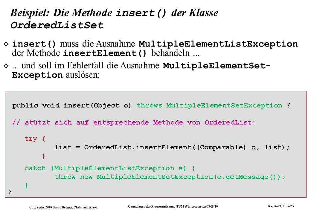 Beispiel: Die Methode insert() der Klasse OrderedListSet