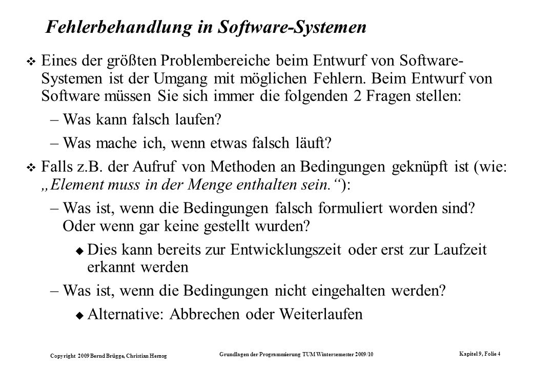 Fehlerbehandlung in Software-Systemen