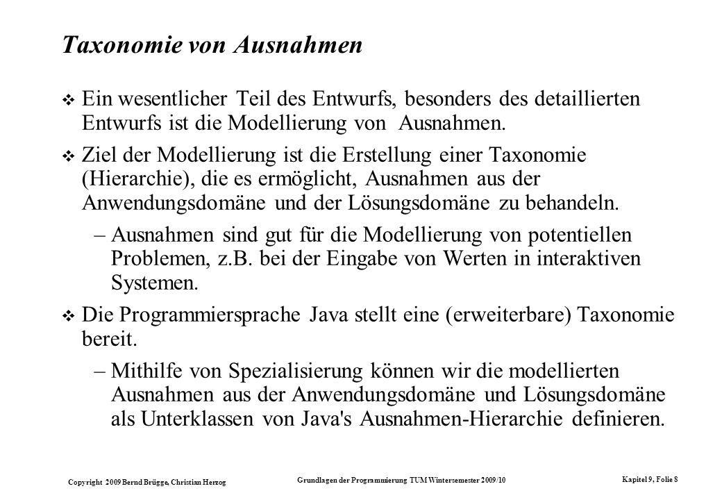 Taxonomie von Ausnahmen