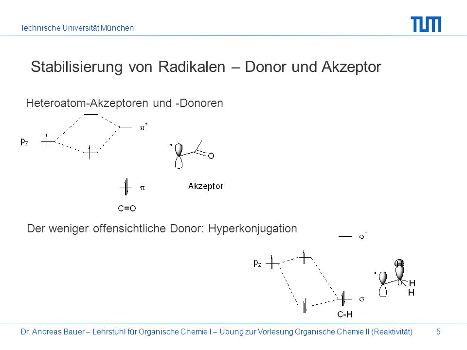 Stabilisierung von Radikalen – Donor und Akzeptor
