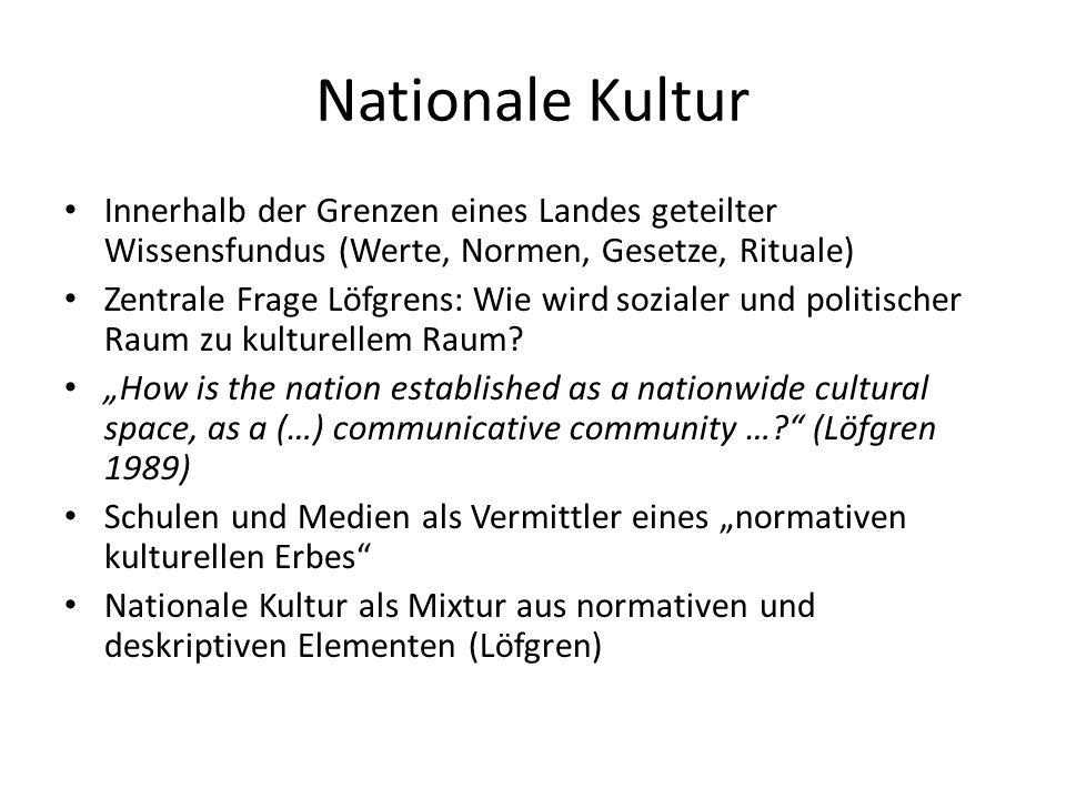 Nationale Kultur Innerhalb der Grenzen eines Landes geteilter Wissensfundus (Werte, Normen, Gesetze, Rituale)