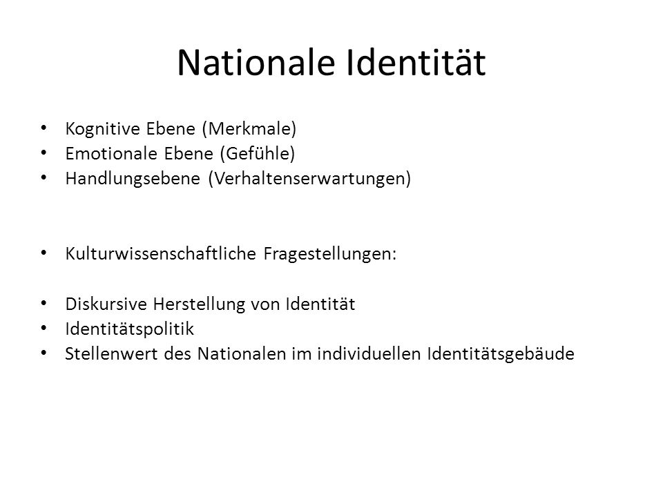 Nationale Identität Kognitive Ebene (Merkmale)