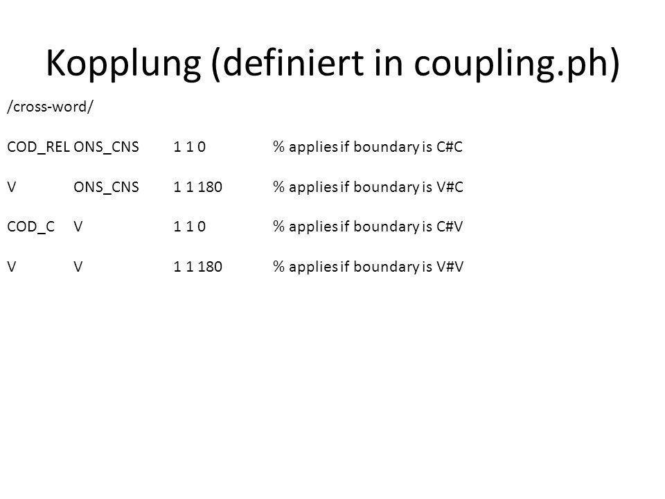 Kopplung (definiert in coupling.ph)