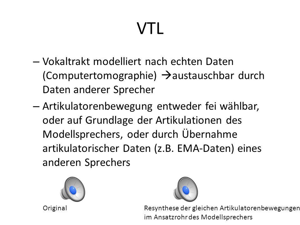 VTL Vokaltrakt modelliert nach echten Daten (Computertomographie) austauschbar durch Daten anderer Sprecher.