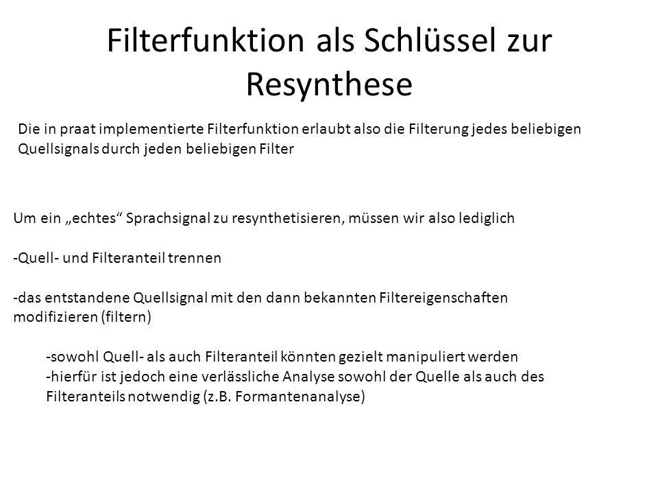 Filterfunktion als Schlüssel zur Resynthese