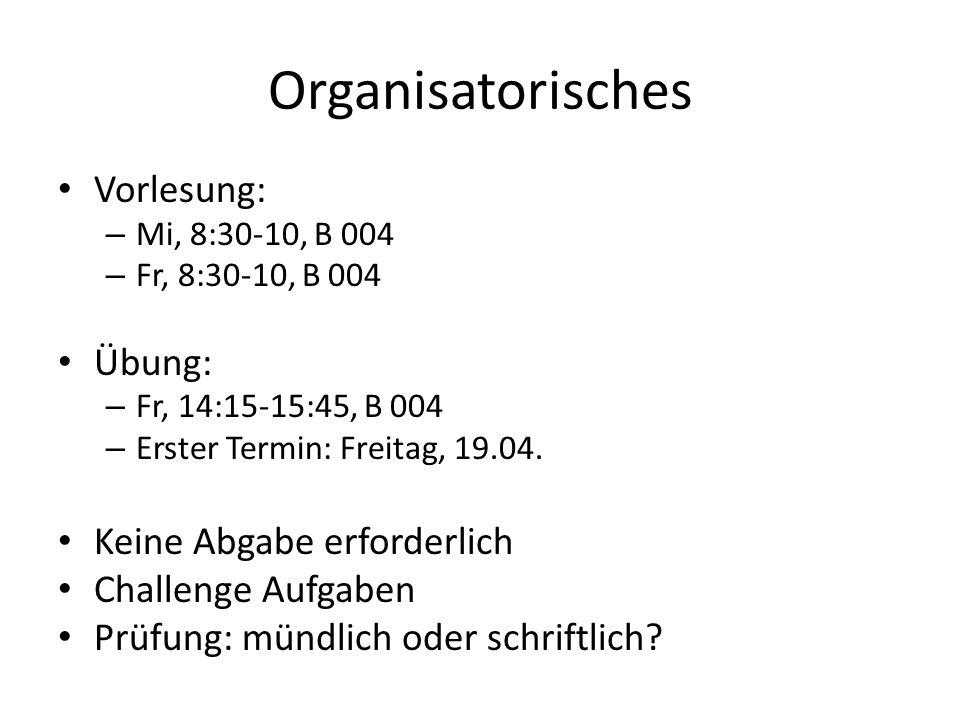 Organisatorisches Vorlesung: Übung: Keine Abgabe erforderlich