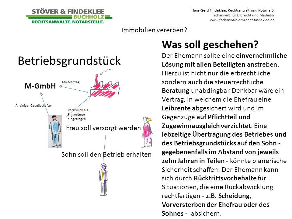Betriebsgrundstück Was soll geschehen M-GmbH Immobilien vererben