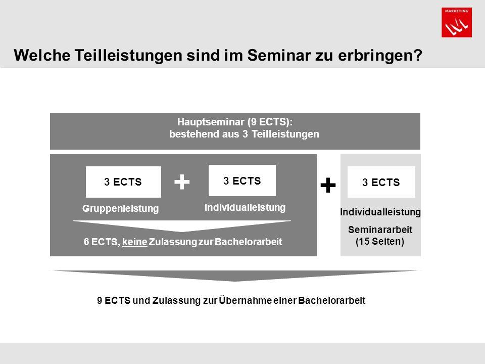 + + Welche Teilleistungen sind im Seminar zu erbringen 3 ECTS 3 ECTS
