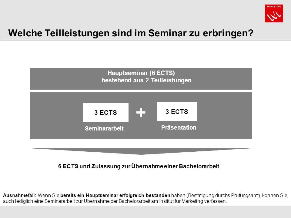 + Welche Teilleistungen sind im Seminar zu erbringen 3 ECTS 3 ECTS