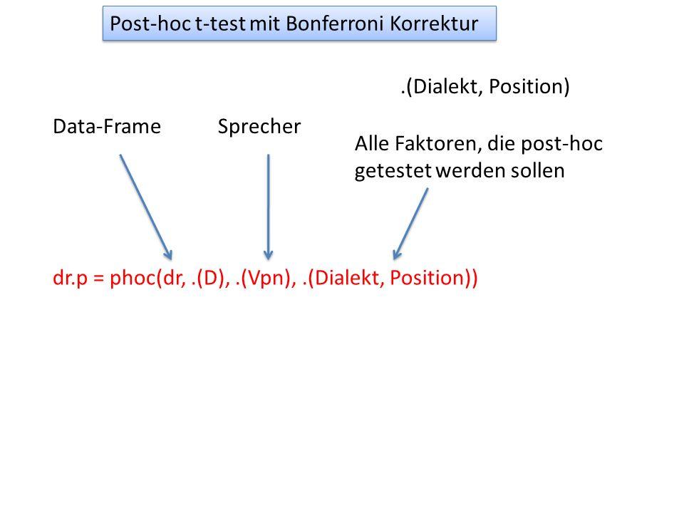 Post-hoc t-test mit Bonferroni Korrektur