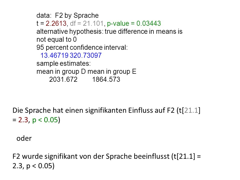 data: F2 by Sprache t = 2.2613, df = 21.101, p-value = 0.03443. alternative hypothesis: true difference in means is not equal to 0.
