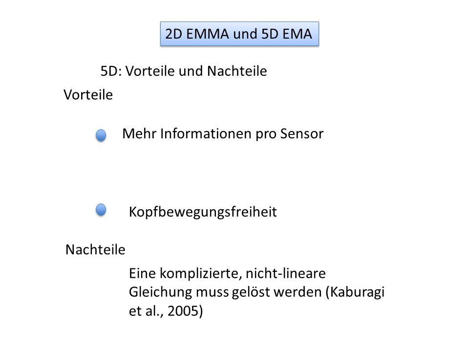 2D EMMA und 5D EMA 5D: Vorteile und Nachteile. Vorteile. Mehr Informationen pro Sensor. Kopfbewegungsfreiheit.